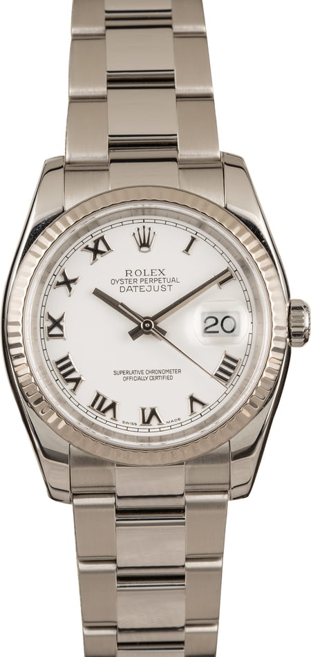 Pre-Owned Rolex Datejust 116234 White Roman Dial