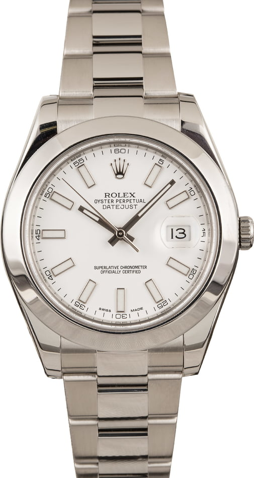 Pre-Owned Rolex Datejust II 116300 White Dial