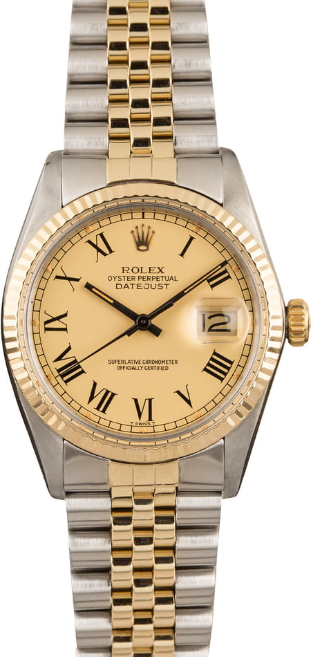 Pre Owned Rolex Datejust 16013 Matte Champagne Buckley Dial