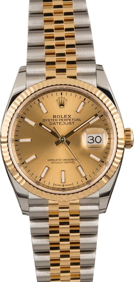 Pre-Owned Rolex Datejust 126233 Champagne Index Dial