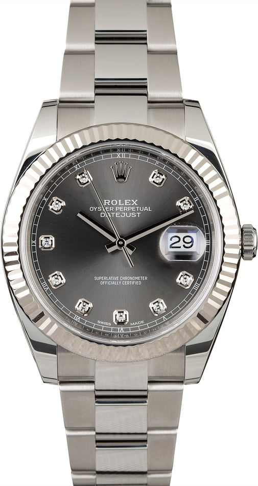 Unworn Rolex Datejust II Ref 126334 Dark Rhodium Diamond Dial