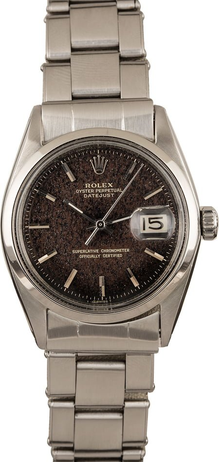 Vintage Rolex Datejust 1600 Black Index Dial