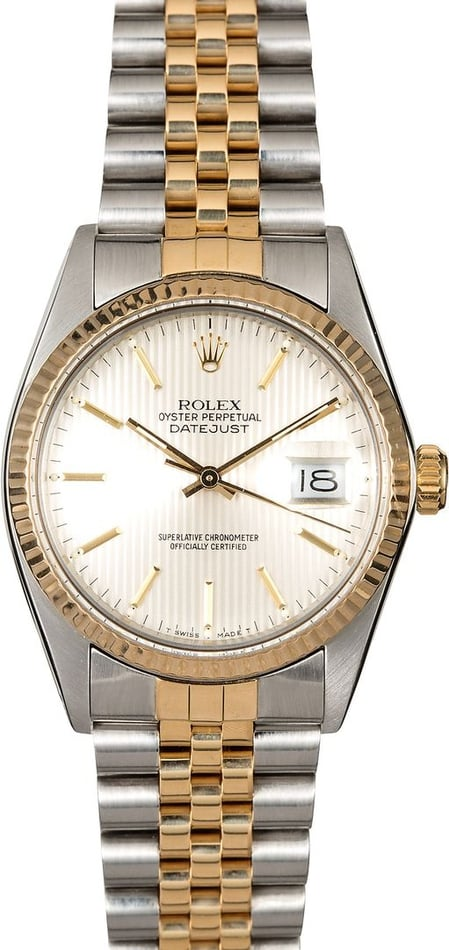Rolex Datejust 16013 Silver Tapestry Dial