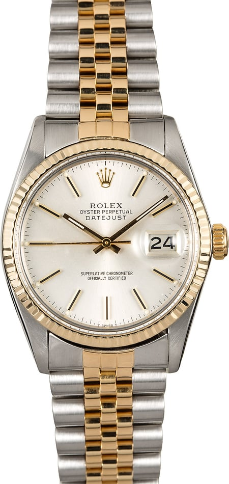 Certified Pre-Owned Rolex Datejust 16013 Silver Dial