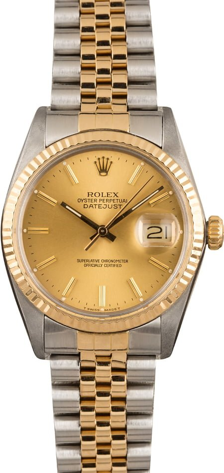 Used Rolex Two-Tone Datejust 16013 Champagne