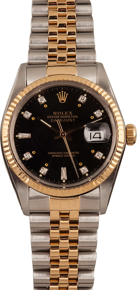 Used Rolex Datejust 16013 Black Diamond Dial