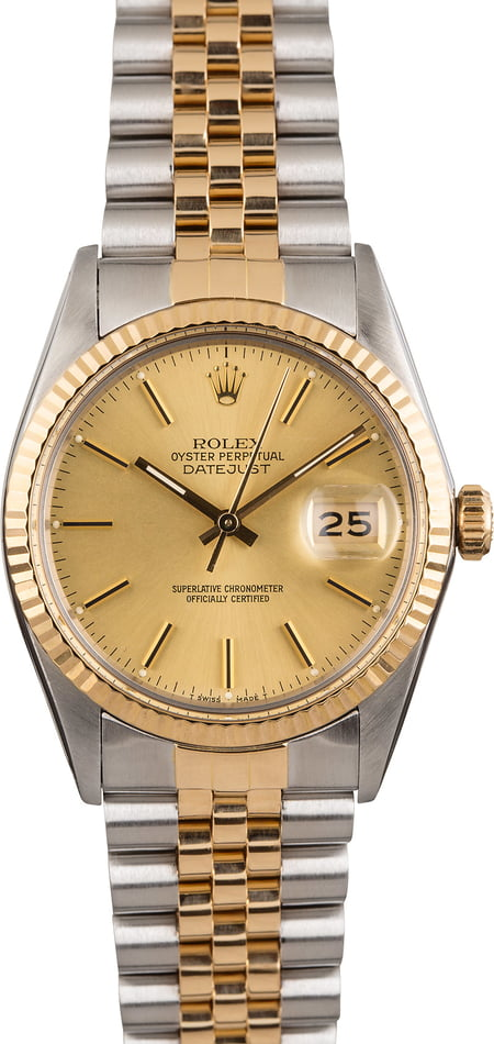 Pre Owned Rolex Two-Tone Datejust 16013 Champagne Index