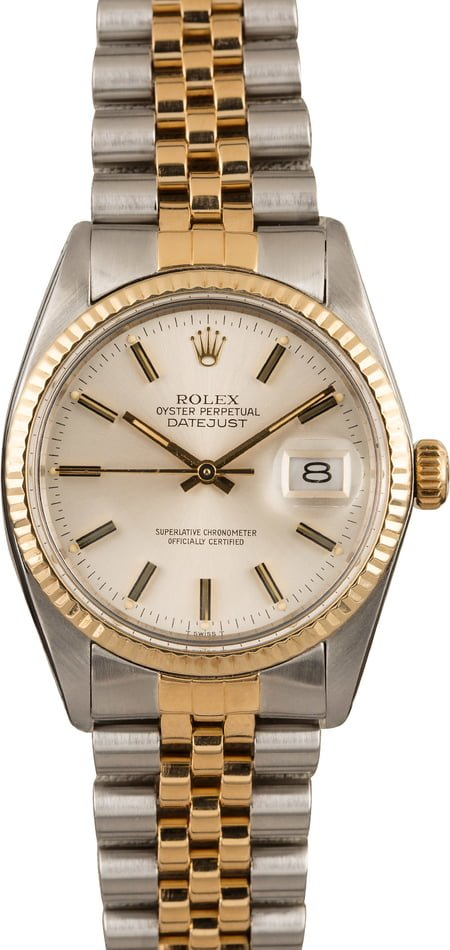 Pre Owned Rolex Datejust 16013 Two Tone Silver Dial