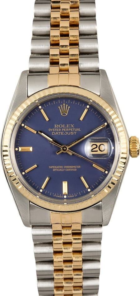 Rolex Datejust 16013 Blue Index Dial Certified Pre-Owned