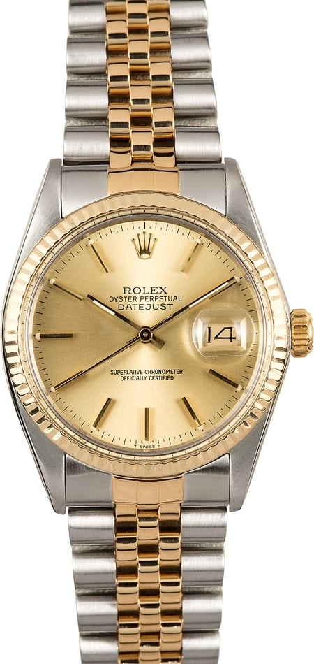 Rolex Datejust 16013 Champagne Dial Certified Pre-Owned