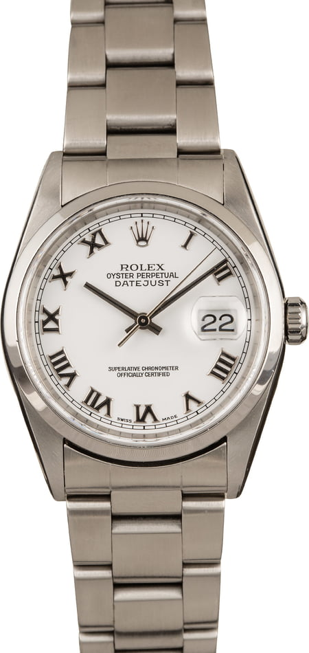 Used Rolex Datejust 16200 White Roman Dial