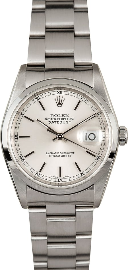 Rolex Datejust 16200 Silver Index Dial