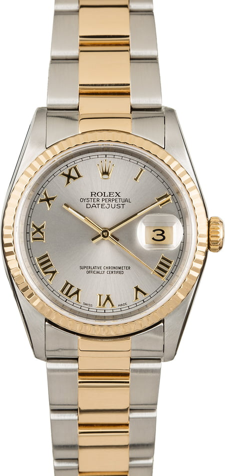 PreOwned Rolex Datejust 16203 Rhodium Dial Two Tone