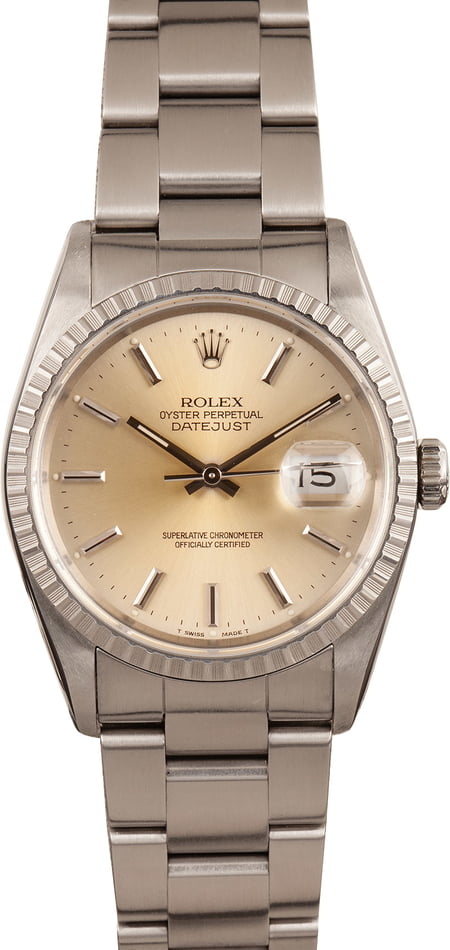 Pre-Owned Rolex Datejust 16220 Engine Turned Bezel T