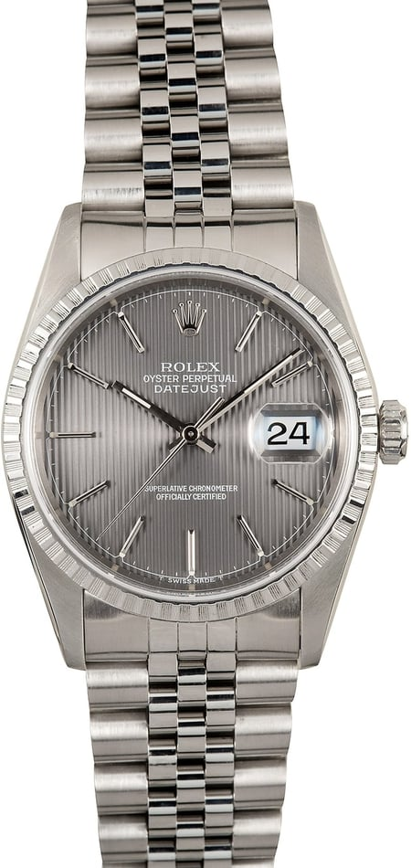 Rolex Mens Datejust 16220 Slate Tapestry Dial - Certified Pre-owned