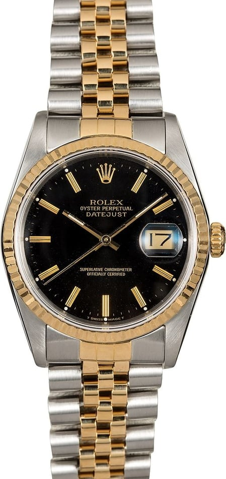 Authentic Rolex Datejust 16233 Black Index Dial