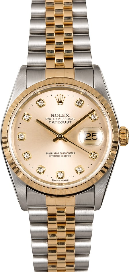 Men's Rolex Datejust 16233 Silver Diamond Dial