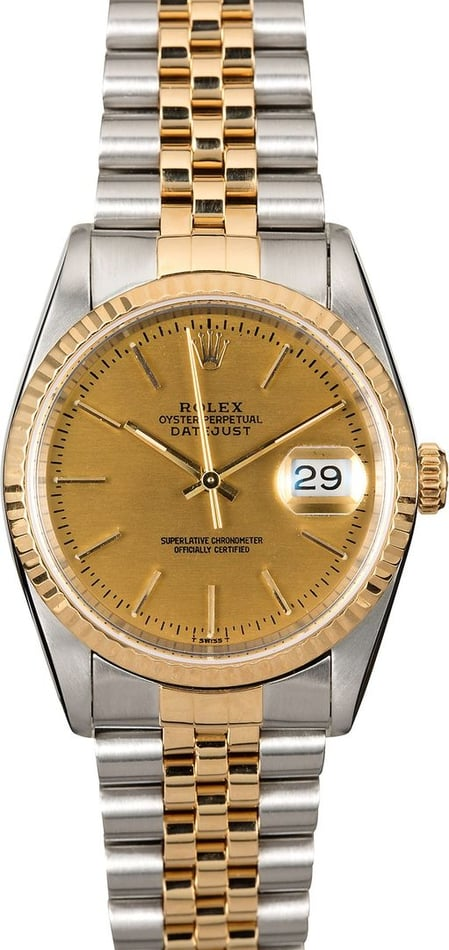 Authentic Rolex Datejust 16233 Champagne Two-Tone