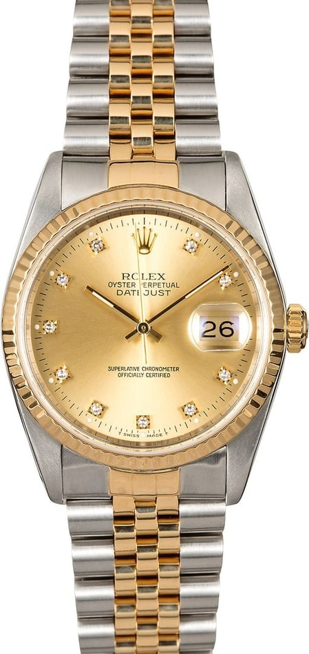 Authentic Rolex DateJust 16233 Champagne Diamond Dial