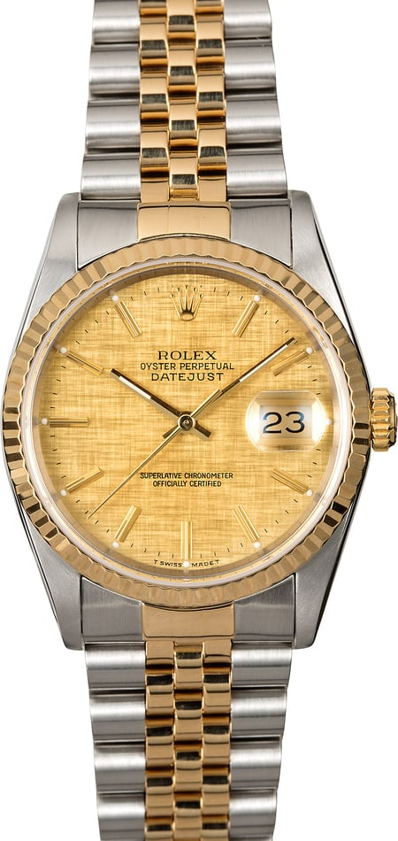 Pre-Owned Rolex Datejust 16233 Champagne Linen Dial