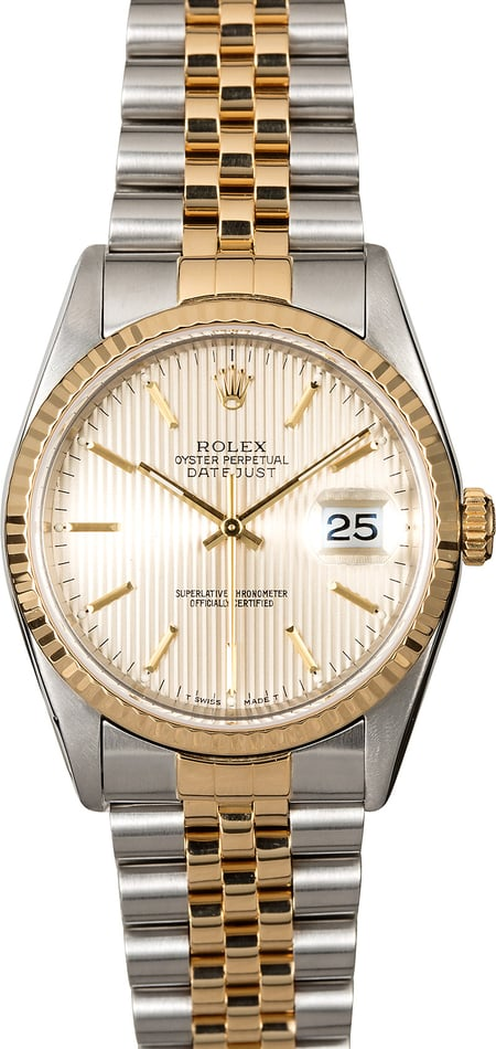 Certified Rolex Datejust 16233 Silver Tapestry Dial