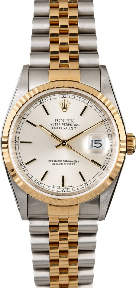 Rolex Datejust 16233 Two Tone Jubilee Silver Dial