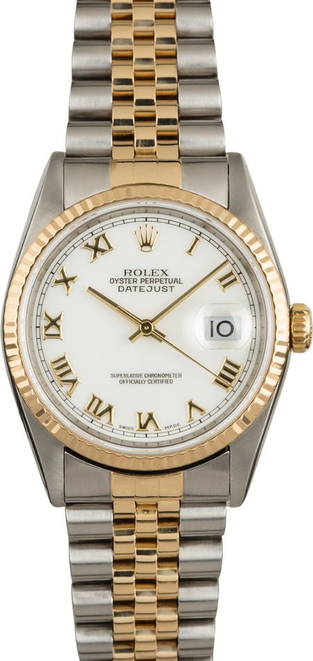 Rolex Datejust 16233 Two Tone Jubilee White Roman Dial