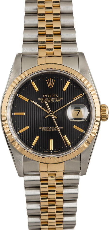 Pre-Owned Rolex Datejust 16233 Black Tapestry Dial