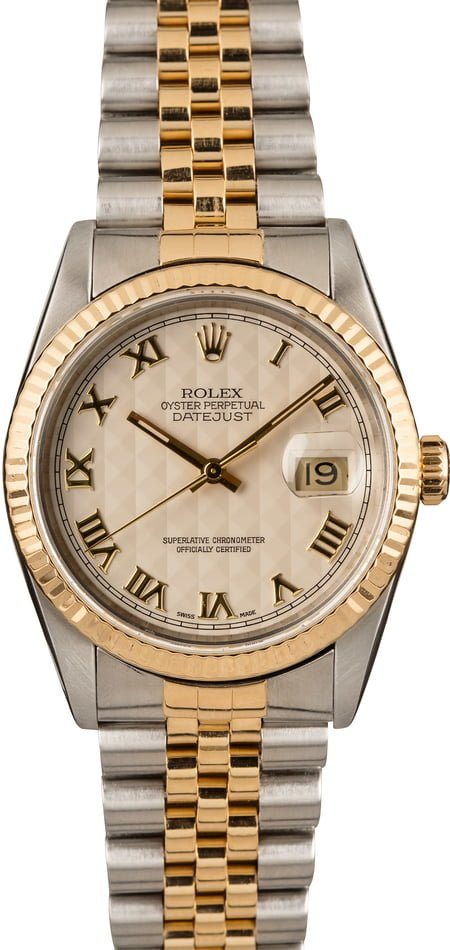 Pre-Owned Rolex Datejust 16233 Ivory Pyramid Roman Dial