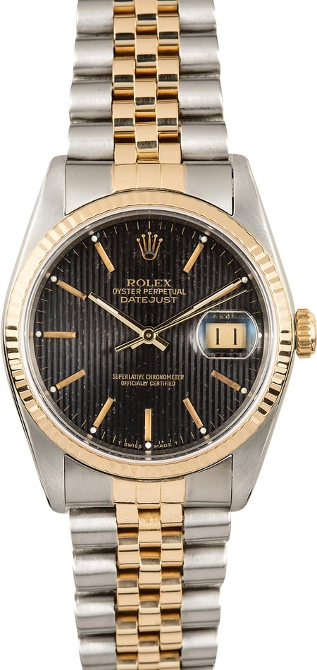 Rolex Datejust 16233 Black Tapestry Dial