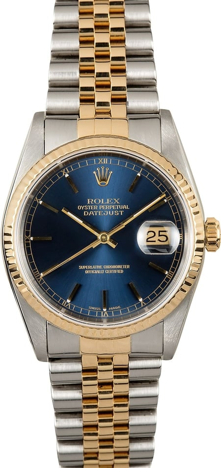 Rolex Datejust 16233 Blue 100% Authentic
