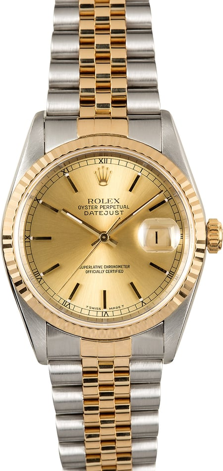 Rolex Datejust 16233 Champagne Dial 100% Authentic