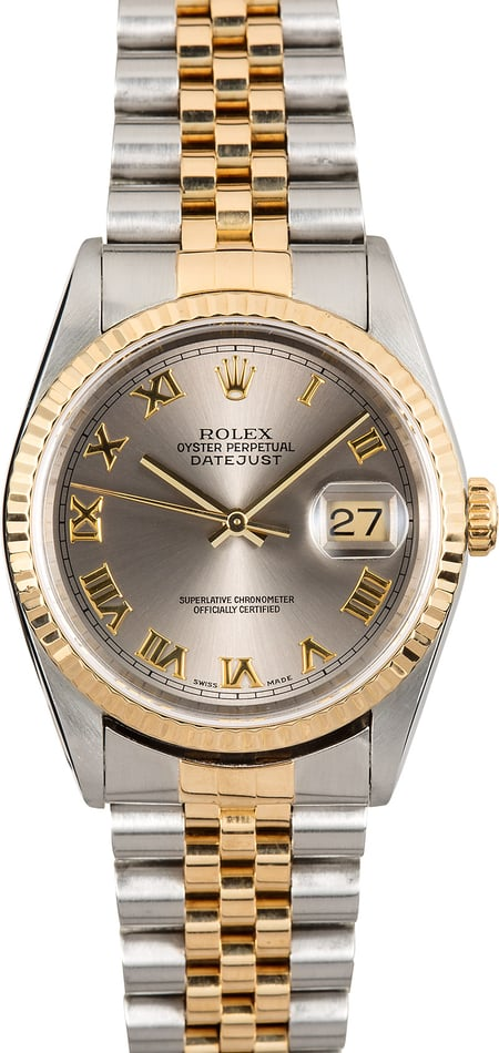 Rolex Steel & Gold Datejust 16233 Roman Dial