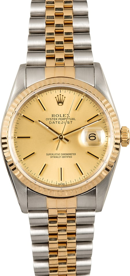Rolex Datejust 16233 Steel and Gold 100% Authentic