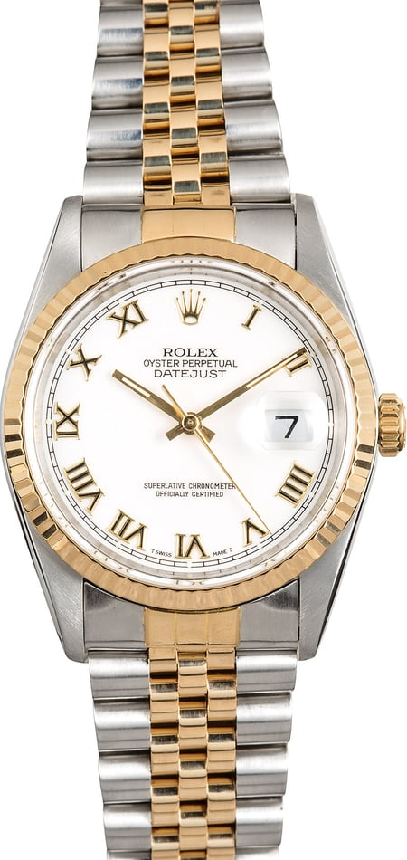 Rolex Men's Datejust 16233 White Roman