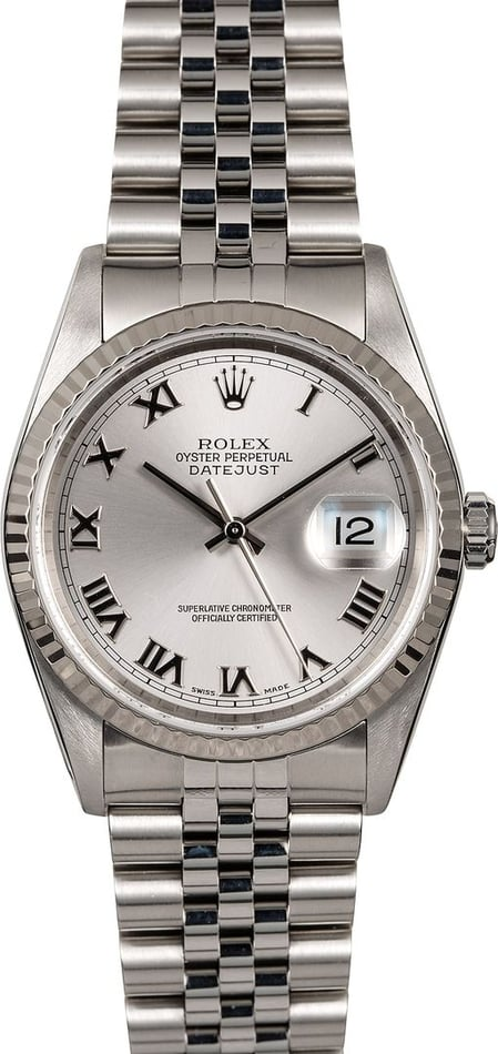Men's Rolex Datejust 16234 Silver Roman