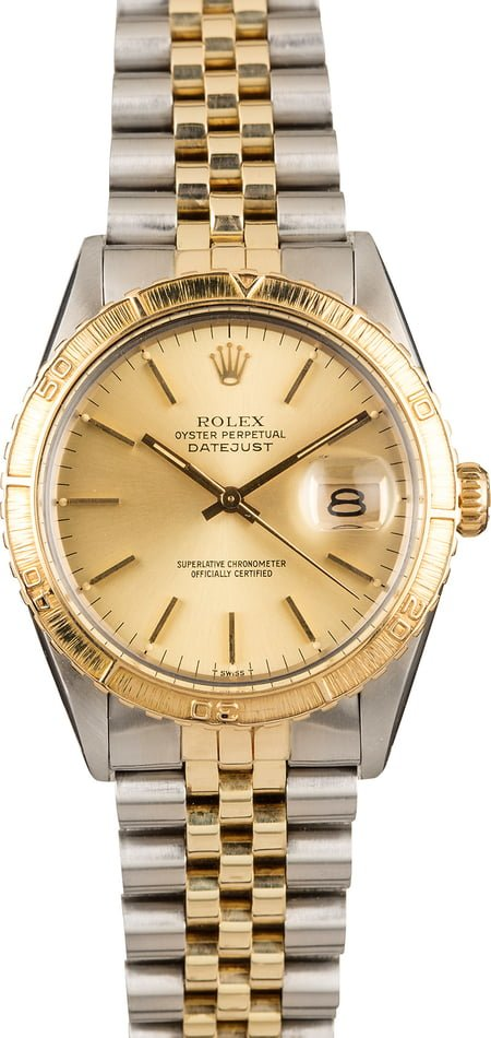 Pre Owned Rolex Thunderbird DateJust 16253 Stainless Steel and Yellow Gold