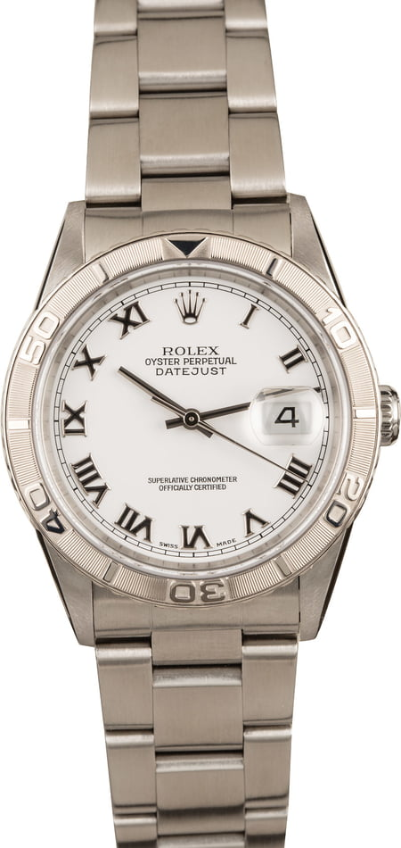 Used Rolex Steel Datejust 16264 White Thunderbird