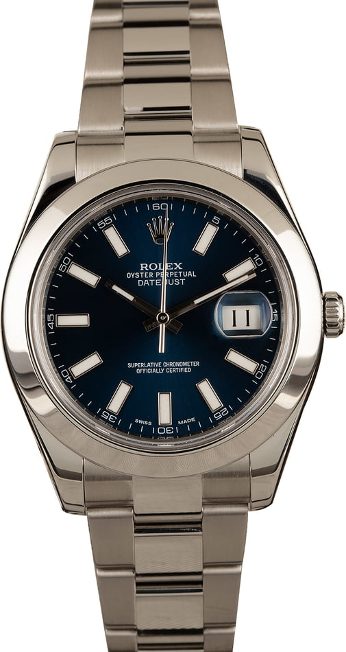 Pre-Owned Rolex Steel Datejust 116300 Blue Dial