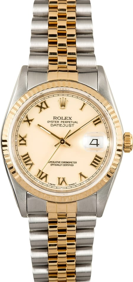 Rolex Datejust Ivory Roman Dial 16233