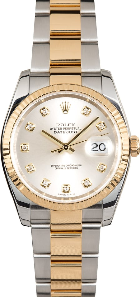 Rolex Datejust Silver Diamond Dial 116233
