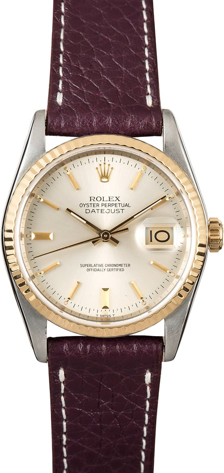 Rolex Datejust Two-Tone 16233 Leather Strap