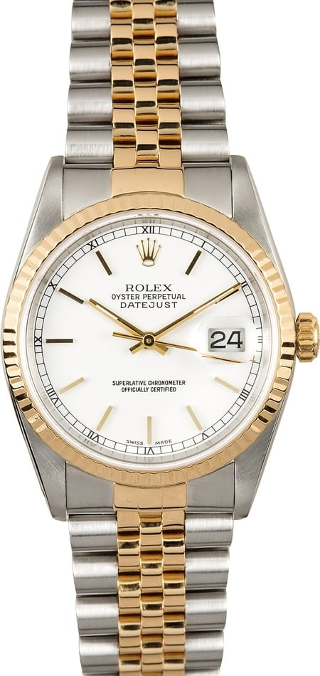 Rolex Datejust White Dial 16233 Certified Pre-Owned