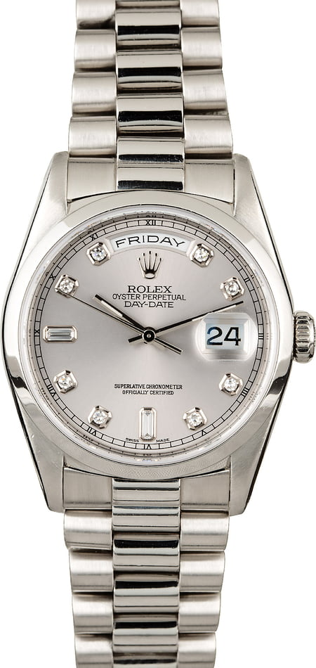 Rolex Day Date 18206 Platinum President With Diamonds