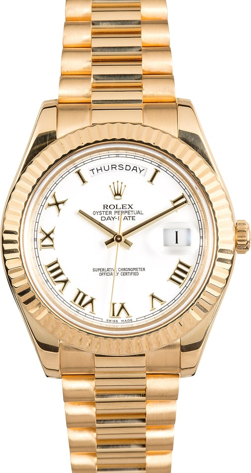 Rolex Day-Date II 218238 White Roman 41MM