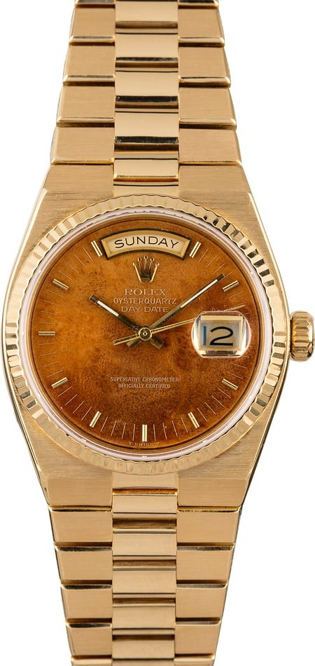 Rolex OysterQuartz Day-Date 19018 Wood Dial