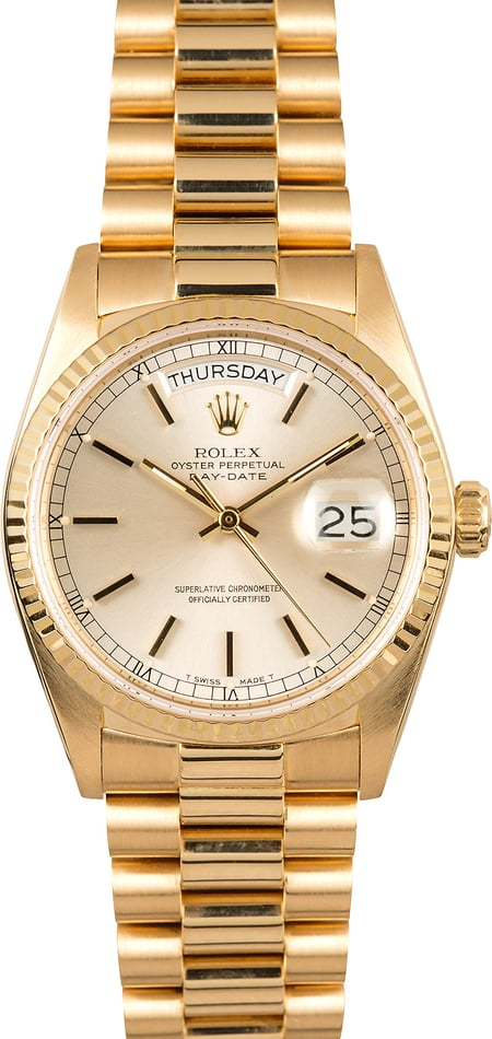 Rolex Day-Date President 18038 Silver Dial