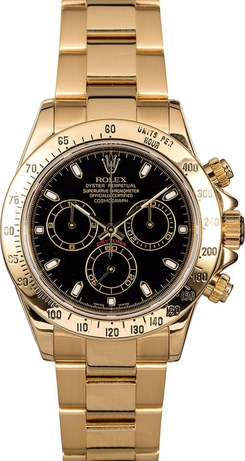 Men's Rolex Daytona 116528BKSO Yellow Gold Oyster