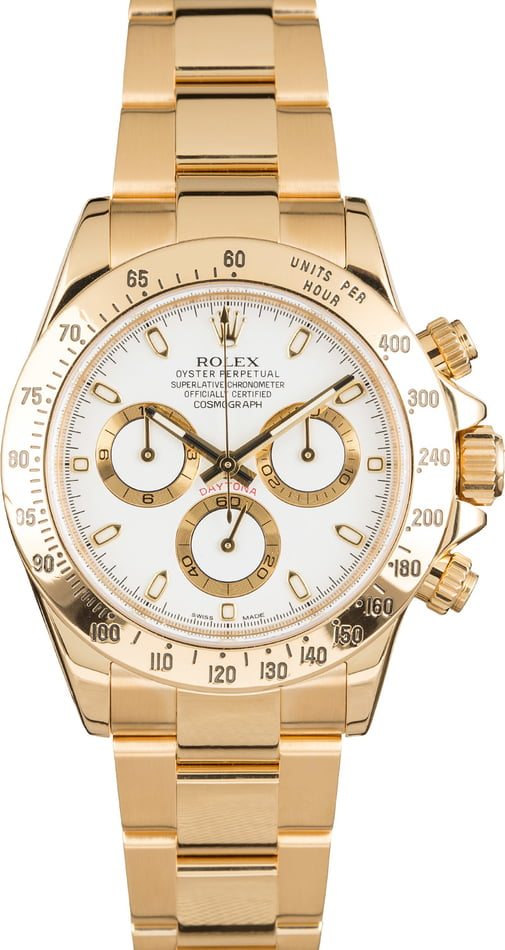 Rolex Daytona 116528 White Dial Yellow Gold Oyster