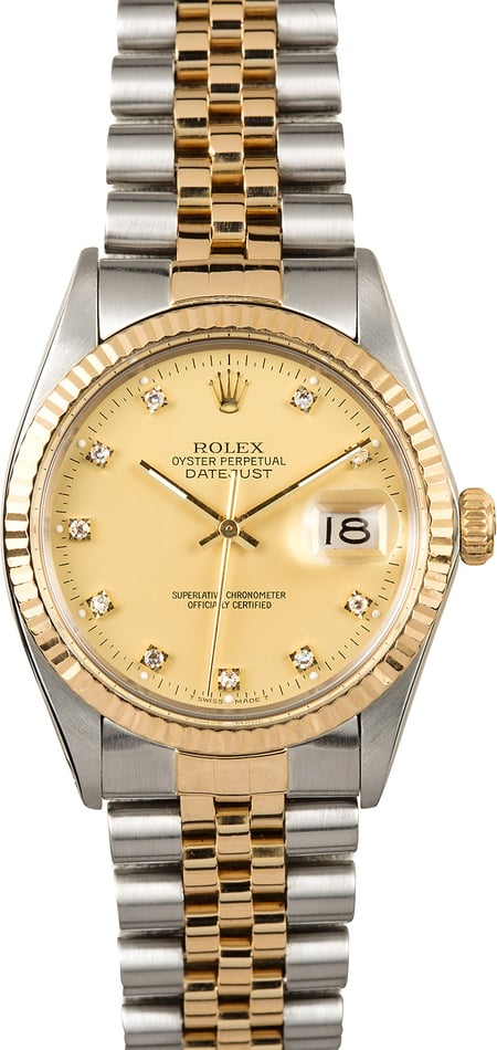 Rolex Diamond Datejust 16013 Certified Pre-Owned